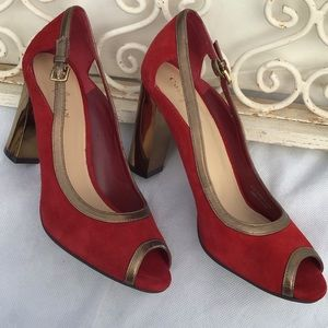 Cole Haan Red and Gold Peep Toe Heels, Size 6